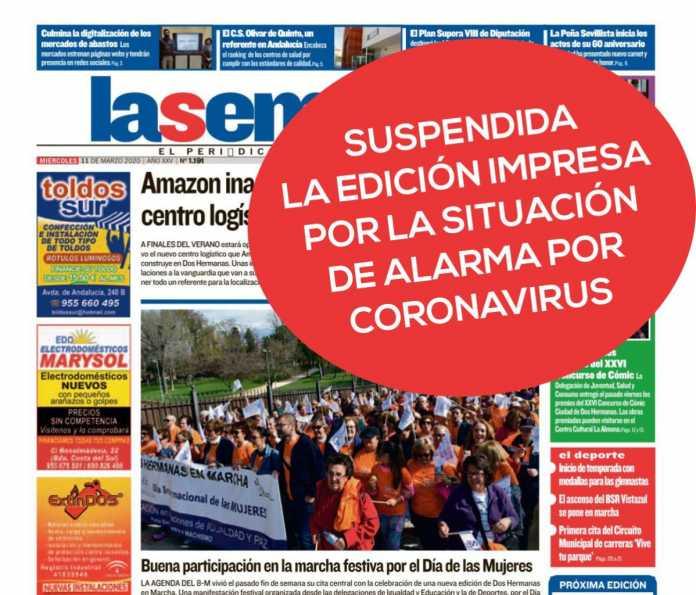 Portada de La Semana con mensaje de suspensión de la edición impresa por #CoronavirusDH